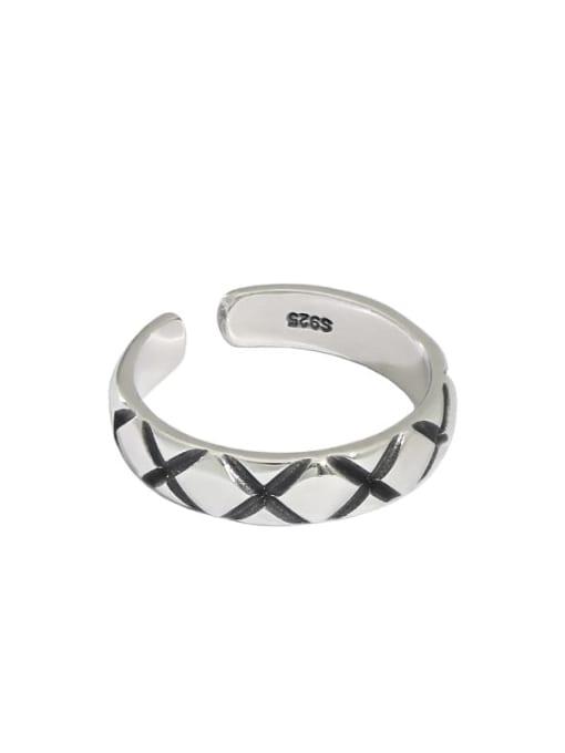Retro silver [13 adjustable] 925 Sterling Silver Irregular Vintage Band Ring